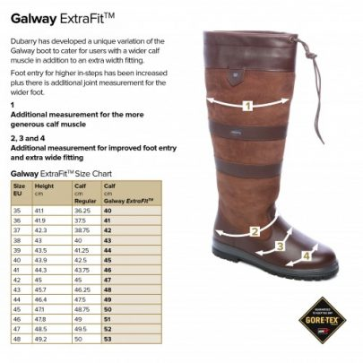 Bootschoenenspecialist.nl dubarry_web_size_charts_galway_ef 1